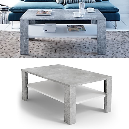 VICCO Couchtisch Beton Optik Weiß Wohnzimmertisch Beistelltisch Holztisch - Bild 1