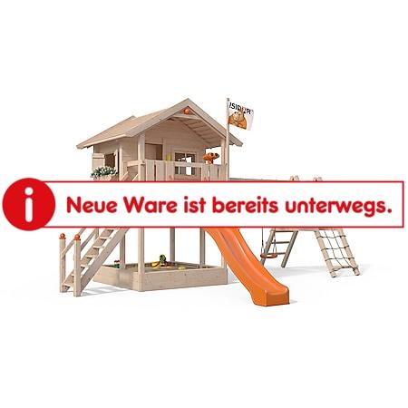 Oskar Spielturm Fridolino Baumhaus Rutsche orange Sandkasten erweiterter Schaukelanbau - Bild 1