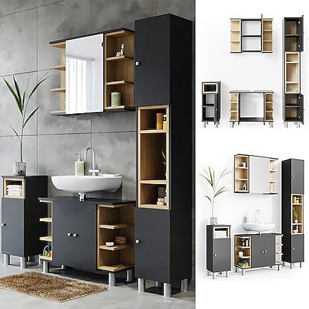 Vicco Badmöbel Set Aquis Bad Spiegel Waschtischunterschrank Badschrank Anthrazit - Bild 1