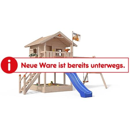 Oskar Spielturm Fridolino Baumhaus Rutsche blau Sandkasten Schaukelanbau - Bild 1
