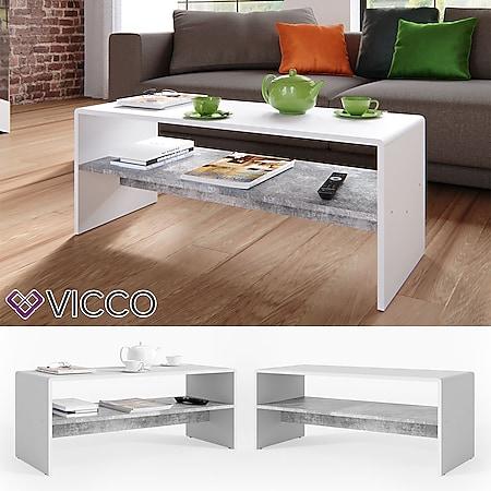 VICCO Couchtisch Weiß Beton Optik Wohnzimmer Sofatisch Kaffeetisch Tisch - Bild 1