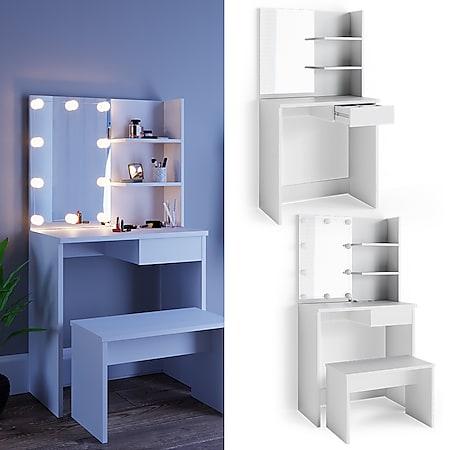Vicco Schminktisch Dekos Kosmetiktisch Frisierkommode Frisiertisch Spiegel Weiß inklusive Sitzbank und LED-Lichterkette - Bild 1