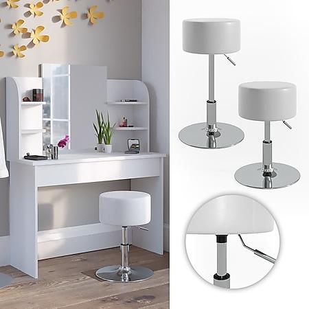 VICCO Design Hocker / Schminkhocker höhenverstellbar in weiß - Bild 1