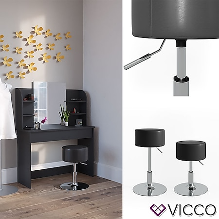 VICCO Design Hocker / Schminkhocker höhenverstellbar in schwarz - Bild 1