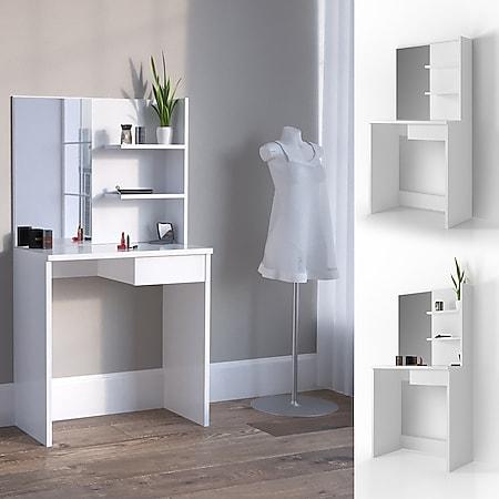 Vicco Schminktisch Dekos Kosmetiktisch Frisierkommode Frisiertisch Spiegel Weiß inklusive Sitzhocker - Bild 1