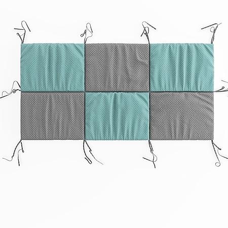 Hausbett Kinderbett Bettrückwand Wiki 140x70 Türkis-Grau - Bild 1