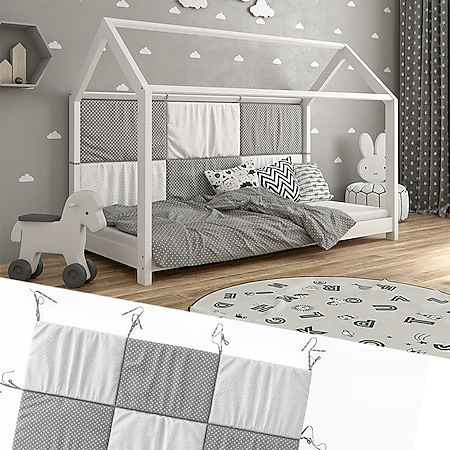 Hausbett Kinderbett Bettrückwand Wiki 140x70 Grau-Weiß - Bild 1