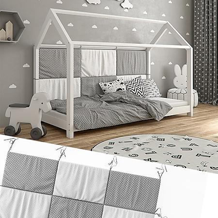 Hausbett Kinderbett Bettrückwand Wiki 160x72 Grau-Weiß - Bild 1