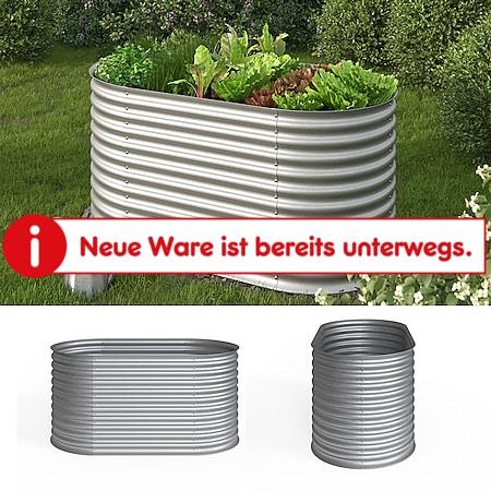 Oskar Hochbeet Kräuterbeet Gemüsebeet oval 160x80x82cm Stahl verzinkt Garten - Bild 1