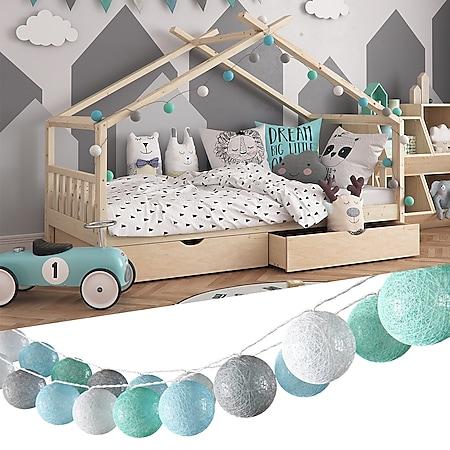 VICCO Lichterkette Cotton Balls Girlande grau weiß mint-grün hellblau 310 cm - Bild 1