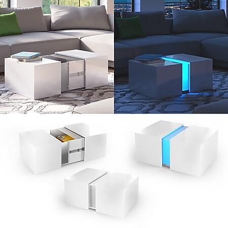 VICCO LED Couchtisch DANDY Weiß hochglanz Sofatisch Kaffeetisch Beistelltisch Weiß - Bild 1