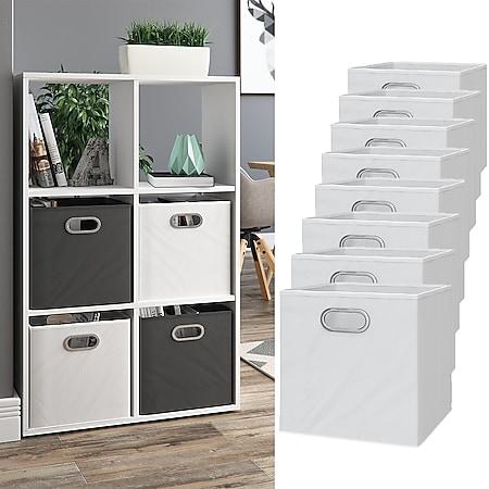 VICCO 8er Set Faltbox 30x30 cm weiß Faltkiste Aufbewahrungsbox Regalbox Box - Bild 1