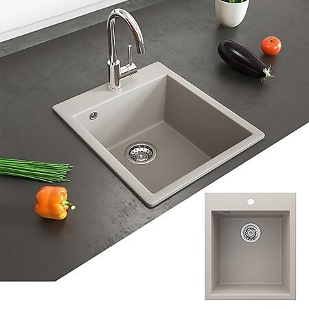 Bergström Granit Spüle Küchenspüle Einbauspüle Spülbecken 425x500mm Beige - Bild 1