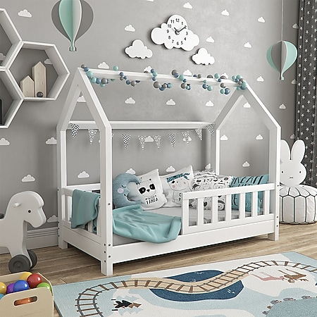 VitaliSpa Hausbett WIKI 70x140cm Zaun Weiß Kinderbett Kinderhaus inkl. Matratze - Bild 1