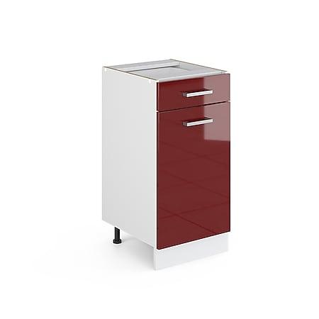 VICCO Schubunterschrank 40 cm Küchenzeile Unterschrank R-Line ohne Arbeitsplatte Rot Hochglanz - Bild 1