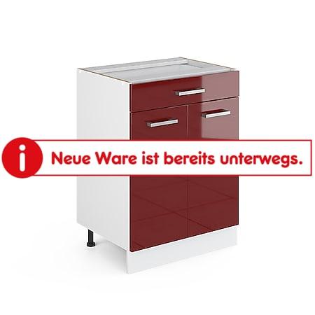VICCO Schubunterschrank 60 cm Küchenzeile Unterschrank R-Line ohne Arbeitsplatte Rot Hochglanz - Bild 1
