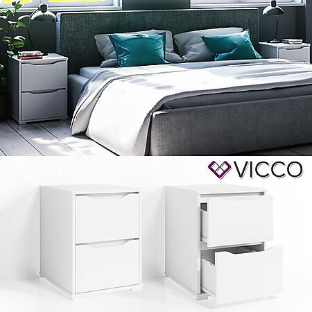 VICCO Nachtschrank RUBEN Nachttisch Weiß Kommode Schlafzimmer Schublade Ablage - Bild 1