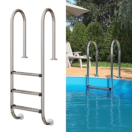 Poolleiter Einbauleiter 3 Stufen Schwimmbadleiter V2A Edelstahl Pool Einstieg - Bild 1