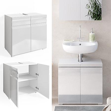 VICCO Waschbeckenunterschrank FREDDY weiß hochglanz Unterschrank Badschrank - Bild 1