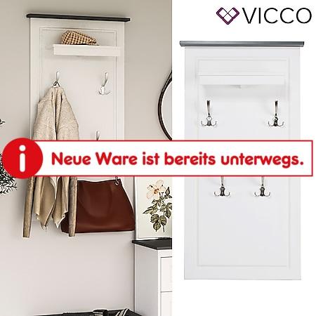 VICCO Garderobenpaneel weiß anthrazit TINO Massivholz Kiefer Landhaus Flurmöbel - Bild 1