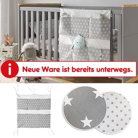 VITALISPA Bett-Organizer Grau Utensilo Kinderzimmer Babybett Tasche 60 x 60 cm - Bild 1