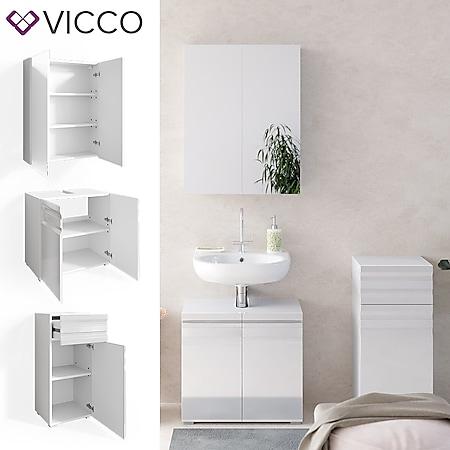 VICCO Badmöbelset FREDDY Spiegelschrank Unterschrank Midi weiß hochglanz Bad - Bild 1