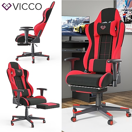 VICCO Gamingstuhl ALPHA schwarz rot Bürostuhl Schreibtischstuhl Drehstuhl Sport - Bild 1