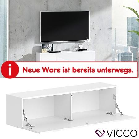 VICCO Lowboard JUSTUS Weiß hochglanz - Fernsehschrank 120cm TV Fernsehtisch - Bild 1