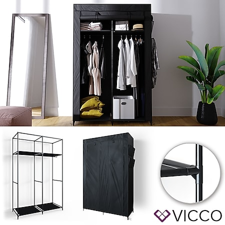 VICCO Kleiderschrank XL DIY Faltschrank Stoffschrank Steckregal System Schwarz - Bild 1