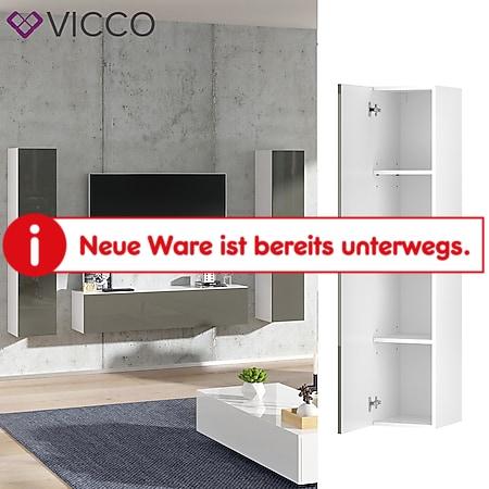 VICCO Hängeschrank JOVE Weiß Grau hochglanz - Lowboard 140cm TV Fernsehtisch - Bild 1