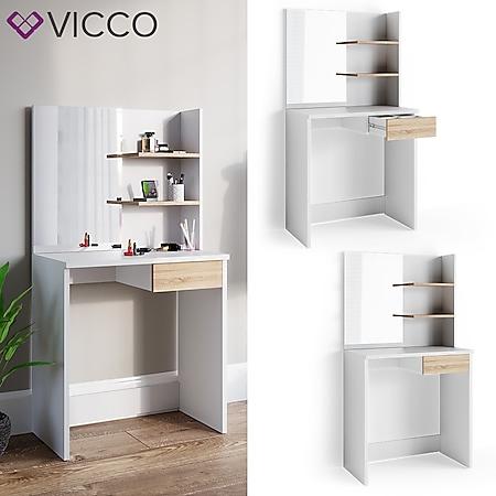 Vicco Schminktisch Dekos Frisiertisch Frisierkommode Kosmetiktisch Weiß Eiche - Bild 1