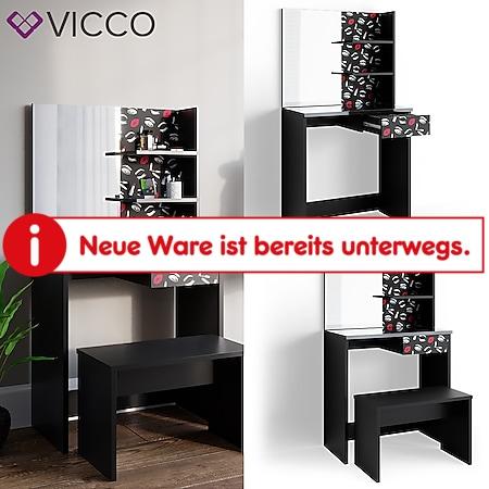 VICCO Schminktisch LIPSTICK schwarz Frisierkommode Frisiertisch Spiegel Bank - Bild 1