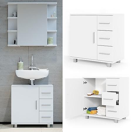 VICCO Waschbeckenunterschrank ILIAS Weiß Waschtisch Unterschrank Badezimmer - Bild 1