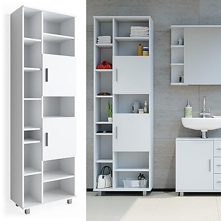 VICCO Badschrank ILIAS 190 x 60 cm Weiß - Hochschrank Regal Badregal - Bild 1