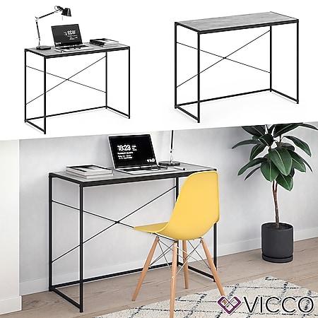 VICCO Loft Schreibtisch Fyrk Bürotisch Arbeitstisch PC Tisch Beton 100 x 45 - Bild 1