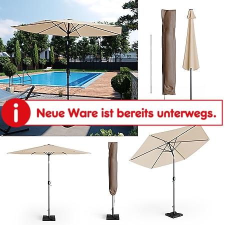 Oskar Sonnenschirm 270cm Set beige inkl Schutzhülle + Ständer Gartenschirm - Bild 1