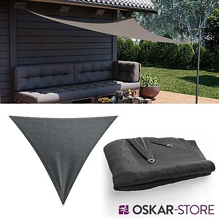 OSKAR Sonnensegel Dreieck 3x3x3 Anthrazit Sonnenschutz Windschutz UV-Schutz HDPE - Bild 1