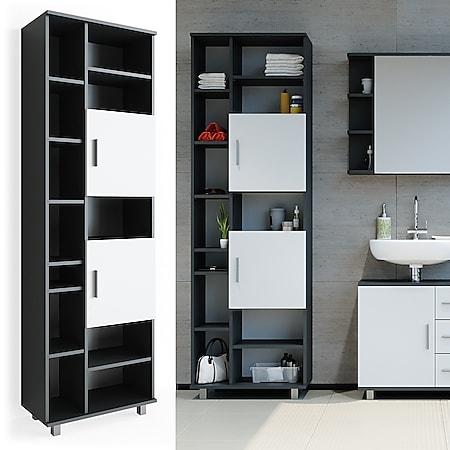 Badmöbel Set ILIAS Bad Spiegel Unterschrank Badschrank Hochschrank Spiegelschrank Weiß Anthrazit - Bild 1