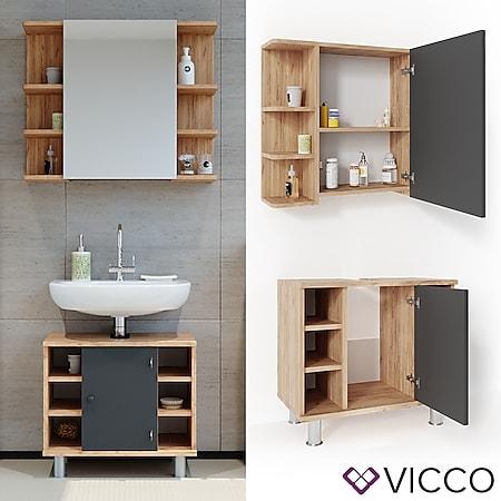 VICCO Badmöbel Set FYNN Eiche Anthrazit Spiegelschrank Waschtischunterschrank - Bild 1