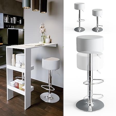 Vicco Design Barhocker 2er Set Weiß Schminkhocker höhenverstellbar Drehstuhl - Bild 1