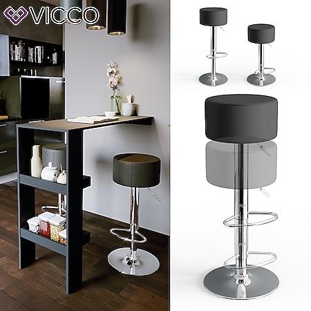 Vicco Design Barhocker 2er Set Schwarz Schminkhocker höhenverstellbar Drehstuhl - Bild 1