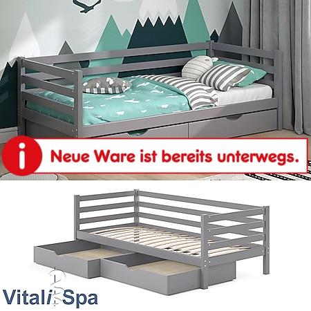 VITALISPA Kinderbett DARCY 90x200cm Grau Lattenrost Schubladen Jugendbett Bett - Bild 1