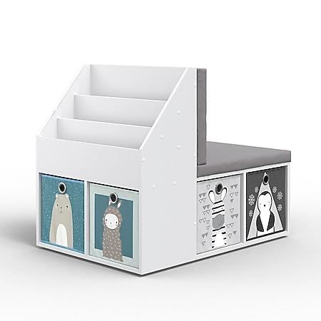 VICCO Kinderregal ONIX mit Sitzbank 6 Faltboxen Kindersitzbank Kinderzimmerregal - Bild 1