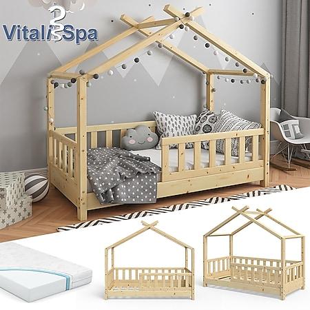 VITALISPA Kinderbett Hausbett DESIGN 70x140cm Natur Zaun Kinder Holz Haus Hausbett mit Matratze - Bild 1