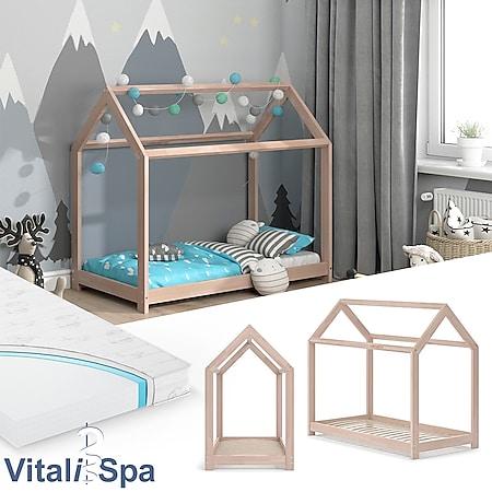 VITALISPA Hausbett WIKI Weiß Kinderbett Kinderhaus Kinder Bett Holz Matratze - Bild 1