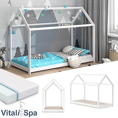 VITALISPA Hausbett WIKI 90x200 Weiß Kinderbett Kinderhaus Matratze Bett Holz - Bild 1
