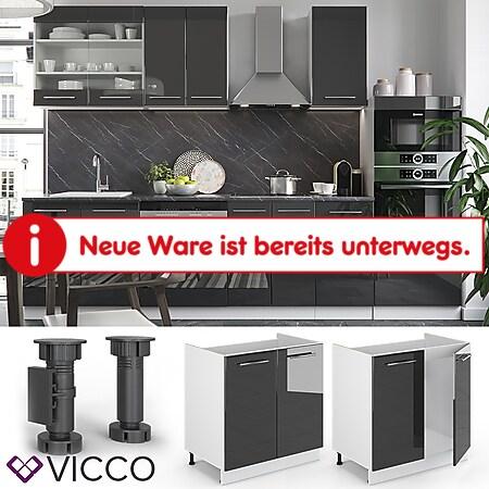 VICCO Spülenunterschrank 80 cm Anthrazit Küchenzeile Unterschrank Fame - Bild 1