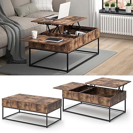Vicco Couchtisch Lars Vintage Liftfunktion Kaffeetisch Wohnzimmertisch 2 Fächer Tisch - Bild 1