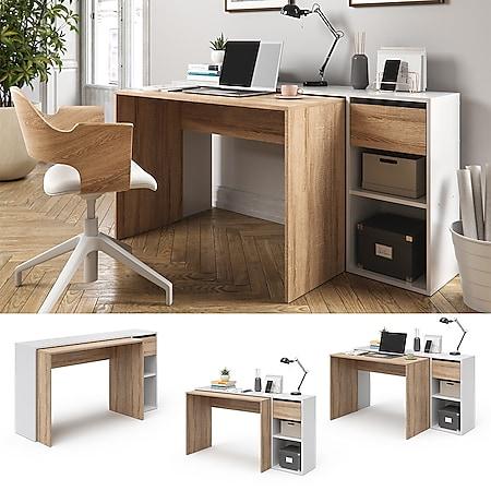 Vicco Schreibtisch Ben Weiß-Sonoma Computertisch ausziehbar Arbeitstisch Bürotisch - Bild 1
