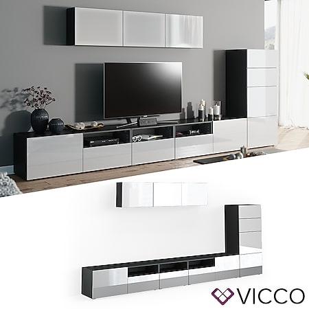 VICCO Wohnwand 7er Set COMPO Lowboard Sideboard Schrank  anthrazit weiß hochglanz - Bild 1